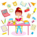 Happy studying. Teenage girl surrounded by school related items Stock Photo