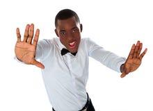 Happy stylish black man stretching to camera Royalty Free Stock Images