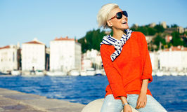 Happy Stylish blonde on vacation. Stock Photography