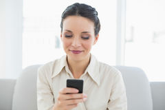 Happy stylish brunette businesswoman using her mobile phone Royalty Free Stock Photography