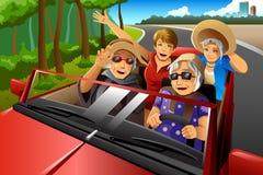 Happy stylish elderly women riding a car. A vector illustration of happy stylish elderly women riding a car on a road trip Royalty Free Stock Image