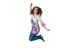 Happy stylish female jumping Royalty Free Stock Images
