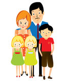 Happy suburban family, cartoon Stock Photo