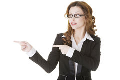 Happy success businesswoman pointing Royalty Free Stock Photography
