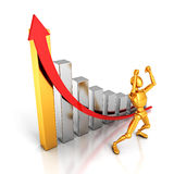 Happy success golden 3d man with growing business graph and arrow Stock Images
