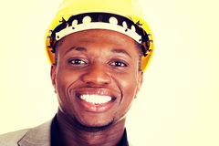Happy successful businesman in helmet. Royalty Free Stock Image