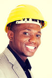 Happy successful businesman in helmet. Royalty Free Stock Photo