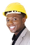 Happy successful businesman in helmet. Stock Photos