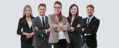 Group of smiling business people. Isolated over white background Royalty Free Stock Photography