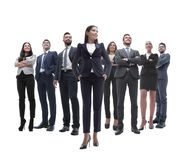 Happy successful business team isolated on white background Royalty Free Stock Photo