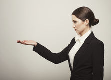 Happy successful business woman with hand isolated. Photo Royalty Free Stock Photos