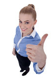 Happy successful business woman making ok sign Stock Photos