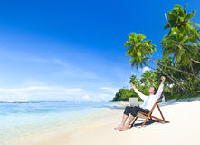 Happy successful Businessman on the Beach Stock Photos