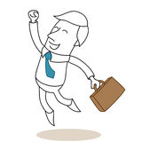 Happy and successful businessman jumping Stock Images