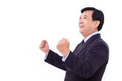 Happy, successful businessman looking up at blank space Royalty Free Stock Photography