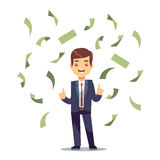Happy successful businessman in money rain. Finance and banking vector concept. Money rain jackpot, illustration of success businessman character and falling Stock Photography