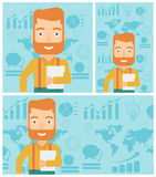 Happy successful businessman vector illustration. Young hipster businessman with the beard holding a file in hand while standing with growing chart and a map on Stock Photography