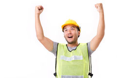 Happy, successful construction worker Stock Images