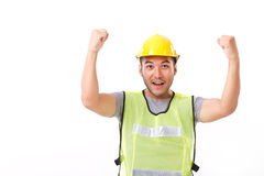 Happy, successful construction worker Stock Image