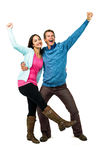 Happy successful couple with hands raised Stock Images