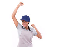 Happy, successful female service staff royalty free stock photo