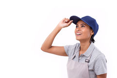 Happy, successful female worker looking up royalty free stock images