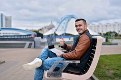 Happy successful freelancer smiling stock photography