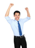 Happy successful gesturing businessman Stock Images