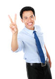 Happy successful gesturing businessman Stock Image