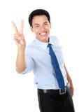 Happy successful gesturing businessman Stock Image