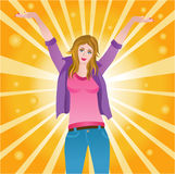 Happy successful joyful woman Royalty Free Stock Photo