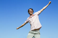 Happy successful man enjoy freedom Royalty Free Stock Photography