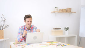 Happy, successful man  reacting to profit Royalty Free Stock Photo