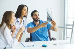 Happy Successful Medical Team work together in hospital.  Stock Images