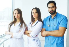 Happy Successful Medical Team work together in hospital.  Royalty Free Stock Images