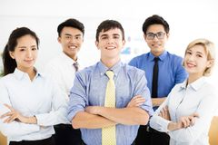 Happy successful multiethnic business team royalty free stock photos