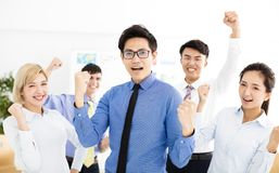 Happy successful multiethnic business team. In office royalty free stock images