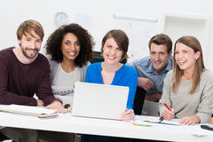 Happy successful multiethnic young business team Royalty Free Stock Photo