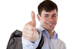 Happy successful student shows thumb up Stock Image