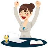 Happy Successful Woman Celebrating Stock Image