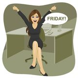 Happy successful woman sitting in chair in office and raising hands up with bubble speech with friday text message Stock Photo