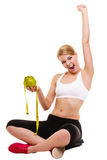 Happy successful woman weighing scale. Weight loss Royalty Free Stock Photography