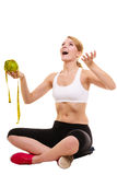 Happy successful woman weighing scale. Weight loss Stock Photos