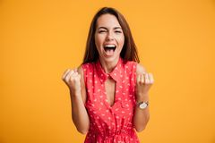 Happy successful young woman with raised hands shouting and cele Stock Images