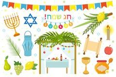 Happy Sukkot icon set, flat, cartoon style. royalty free illustration