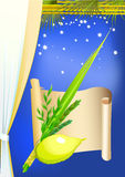 Happy Sukkot with palms,stars. And curtain Stock Images