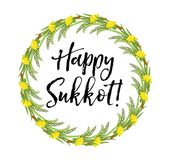 Happy Sukkot round frame of herbs. Jewish holiday huts template for greeting card  Stock Image