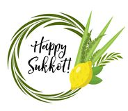 Happy Sukkot round frame of herbs. Jewish holiday huts template for greeting card  Royalty Free Stock Images