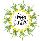 Happy Sukkot round frame of herbs. Jewish holiday huts template for greeting card  Royalty Free Stock Photos