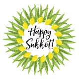 Happy Sukkot round frame of herbs. Jewish holiday huts template for greeting card  Stock Photo